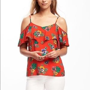 Old Navy off the shoulder ruffle floral shirt XL